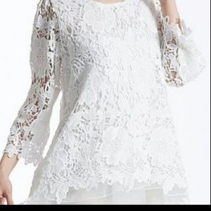 Bell sleeved white lace tunic